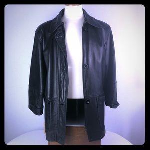 Other - Men black lamb leather coat jacket 3/4 length SzM